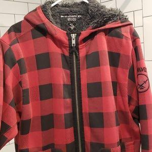 Quicksilver Plaid Zip Up Lined Sweatshirt